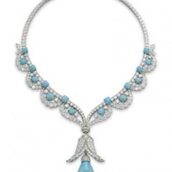 VAN ClEEF & ARPELS- turquoise-diamants-collier