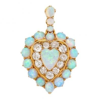 #Victorian #Opal #Diamond #Gold #Pendant