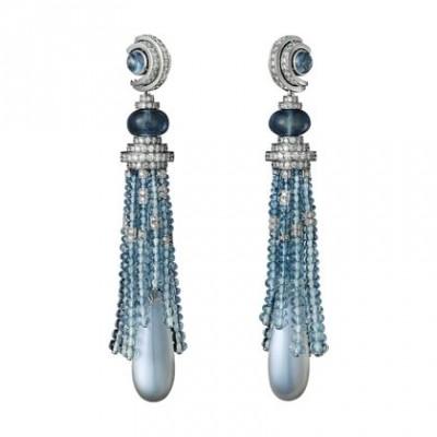 CARTIER-collection Panthère- Boucles d'oreilles-or blanc-pierre de lune-Aigue-marine-diamants
