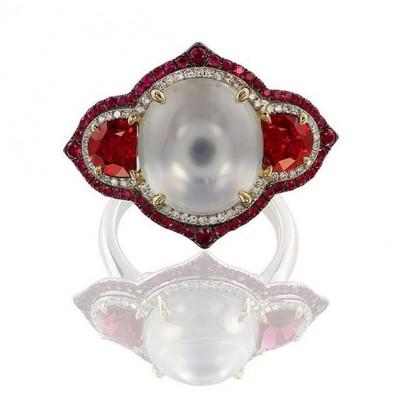 IVY-spinel rose-pierre de Lune-rubis-diamants-bague