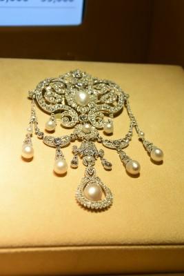 Broche en diamant et perles de style Belle Epoque