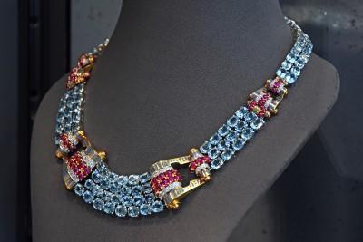 Collier Trabert& Hoeffer Mauboussin, 1940, Aigue-marines, rubis, email, diamants