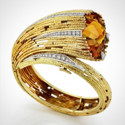 #ANDREW GRIMA #Bangle #Citrine #Diamond #Gold