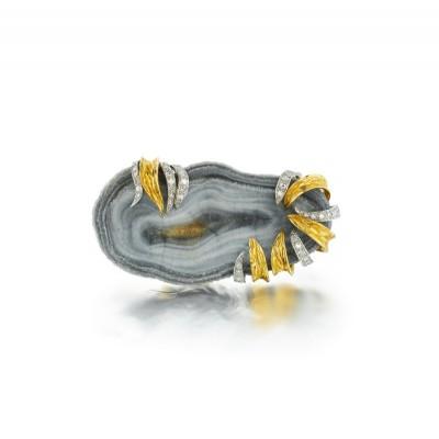 #ANDREW GRIMA #Broche #Agate #Diamants #Diamond #Brooch