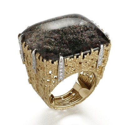 ANDREW GRIMA #cabochon #iodolite #ring #gold #diamonds #1998