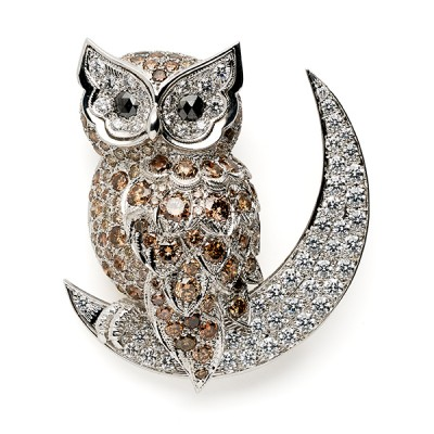 Chouette sur la lune avec diamants blancs et bruns - Owl on Moon with White and Brown Diamonds, 2016