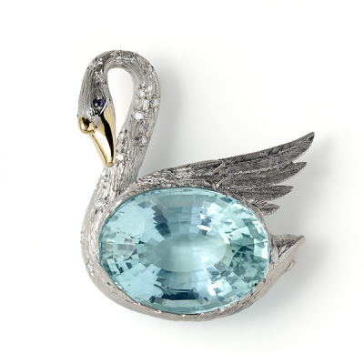 Broche Cygne avec Aigue Marine et diamants - Swan with Aquamarine and Diamonds to Neck, 2016