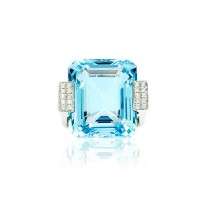 PALOMA SANCHEZ - Aquamarine, diamonds, set in 18K white gold ring