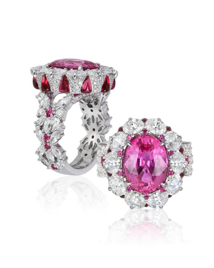 CAROLINE CHARTOUNI Platinum ring - Pink sapphire - Diamonds