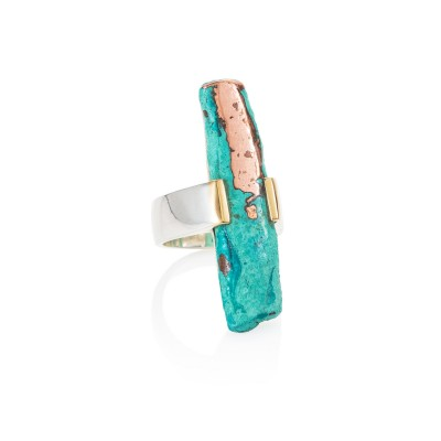 PALOMA SANCHEZ - Cooper with green patina from Michigan (USA) with 18K gold, set in 925 silver 18K white gold plated ring