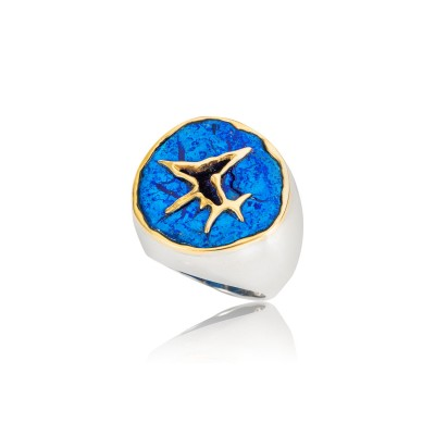PALOMA SANCHEZ - Drusy Azurite Nut from Germany, 18K gold silver ring