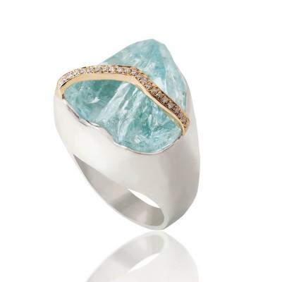 PALOMA SANCHEZ  Aquamarine - diamonds Ring