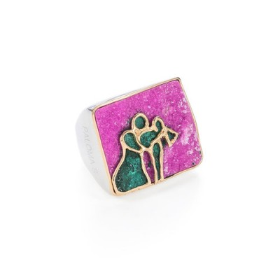 PALOMA SANCHEZ Cobalto calcite and malachite set in 925 silver 18K pold plated ring