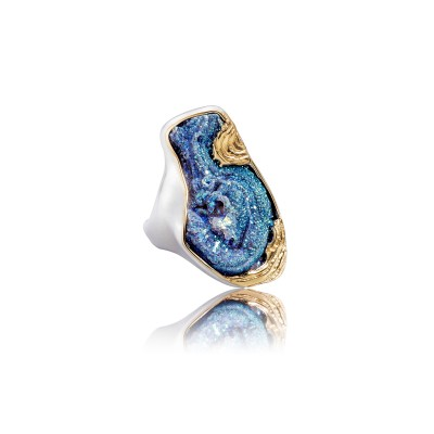 PALOMA SANCHEZ Drusy Agate titanum infused set in 925 silver with 18K yellow gold