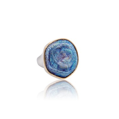PALOMA SANCHEZ Drusy Agate titanum set in an 18K yellow gold bezel and a 925 silver 18K white gold plated ring