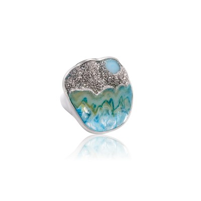 PALOMA SANCHEZ Drusy Agate with platinum set in 925 silver 18K white gold plated
