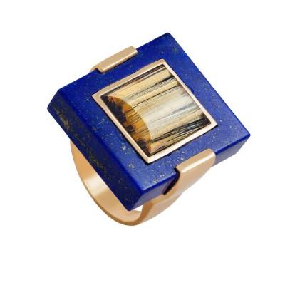 PALOMA SANCHEZ Lapis Lazuli -  rutiled quartz -yellow gold