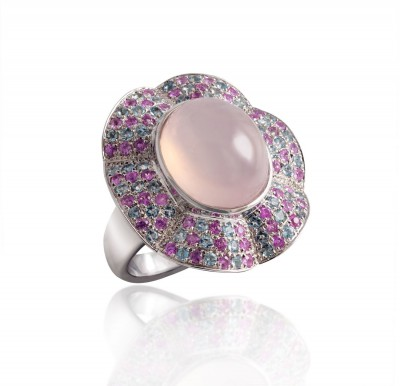 PALOMA SANCHEZ Rose quartz with aquamarine abd pink sapphire pave