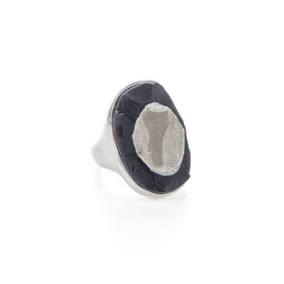 PALOMA SANCHEZ pyrite in schist set in 925 silver and18K gold plated ring
