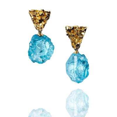 PALOMA SANCHEZ - Rough aquamarines from Madagascar, 18K yellow gold top earrings