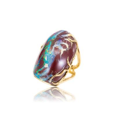 PALOMA SANCHEZ - Yowah Nut Opal from Australia, 18K yellow gold ring