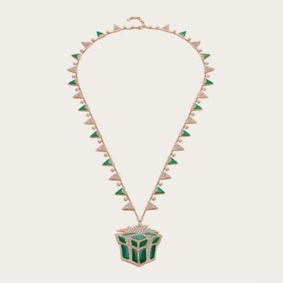 BULGARI-pendant-diamonds-green chalcedonies