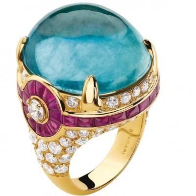 BULGARI-ring-gold-ruby-diamond-aquamarine cabochon