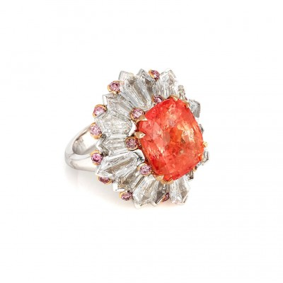 DAVID MORRIS - 12.30ct Padparadsha sapphire - diamonds - pink sapphires