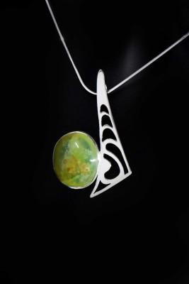 IRIATAI-collier-chrysoprase-locale-nc-argent-motif-océanien-création-unique-iriatai-nc