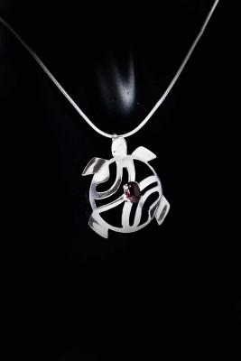 IRIATAI-collier-tortue-grenat-argent-motif-océanien-création-unique-iriatai-nc