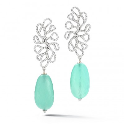 #MISENO #Earrings#18KWhiteGold #Chalcedony #Diamonds