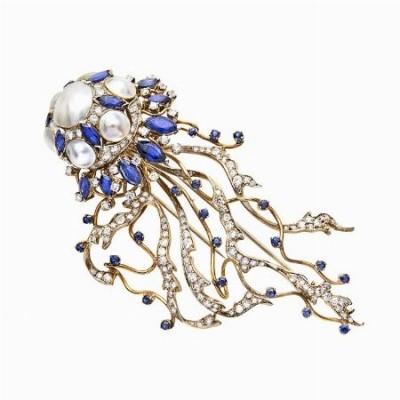 #ENRICO SERAFINI #Brooch #Sapphire #Pearl #Diamonds #Broche #Saphir #Diamant #Perle