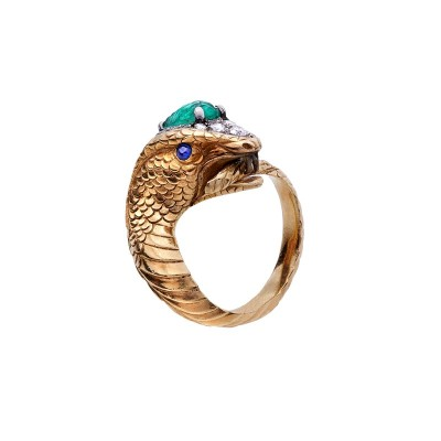 #ENRICO SERAFINI #Ring #Sapphire #Emerald #Emeraude #Diamonds #Bague #Saphir #Diamant