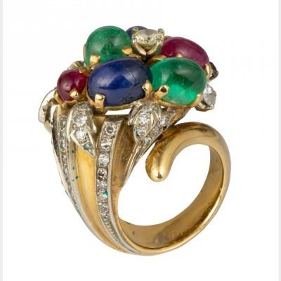 #ENRICO SERAFINI #Ring #Sapphire #Emerald #Emeraude Ruby #Diamonds #Bague #Saphir #Diamant #Rubis