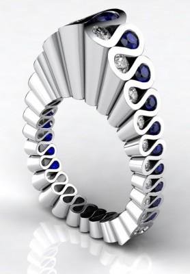 #ERIK STEWART, platinum, ring, sapphires, diamonds