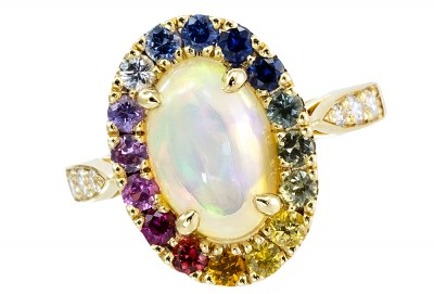 #JustineBuscail-#Bague-#Opale-#Saphirs-#Diamants-#Ring-#Sapphires-#Diamonds-#Gemfrance