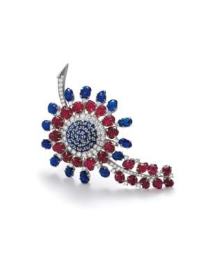 #JEAN PARMENTIER #Ruby #Sapphire #Diamond #Platinum #Gold #Brooch