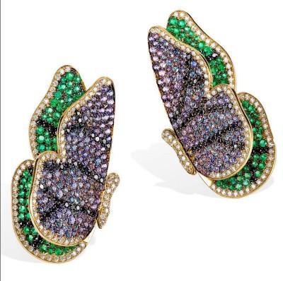 #ROSIOR #Brooch #emeralds #Sapphires #WhiteDiamonds #BlackDiamonds