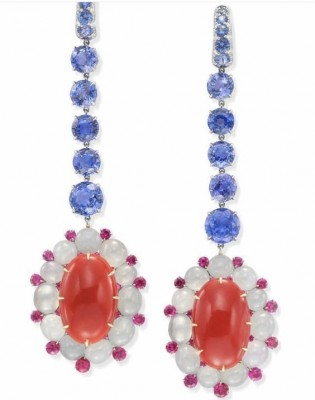 #SABBA #Coral #Sapphire #PinkSapphires #WhiteJade #Earrings