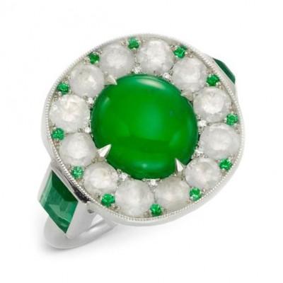 #SABBA #Ring #Diamonds #Jade #Emerald #Cabochon
