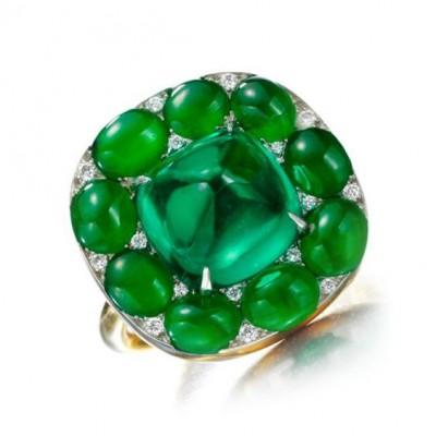 #SABBA #Ring #Jade #Emerald #Cabochon #Diamonds