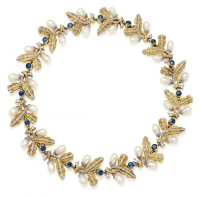#CAZZANINGA #Sapphire #Cultured Pearl #Bicolored Gold Necklace #Saphir #Perle de culture #Collier