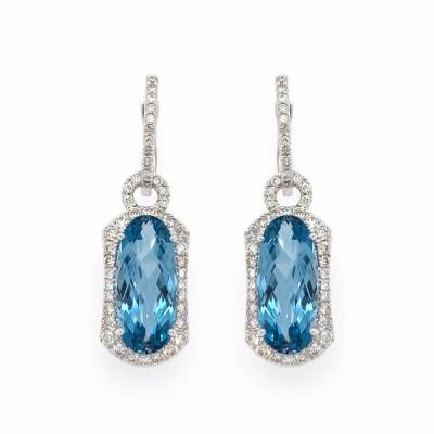 #PICO #Blue Topaz #Diamonds #Earrings #Topaze Bleue #Boucles d'oreilles