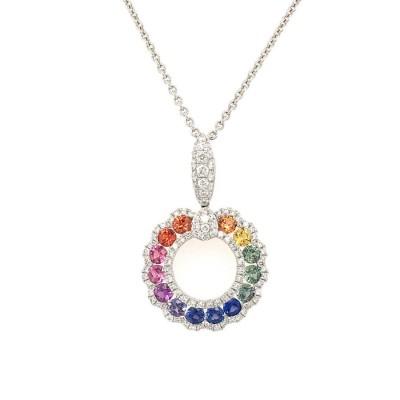 #PICO #Multi Color Sapphires #Multicolored Sapphire Pendant #Saphirs multicolores #Diamonds #Diamants