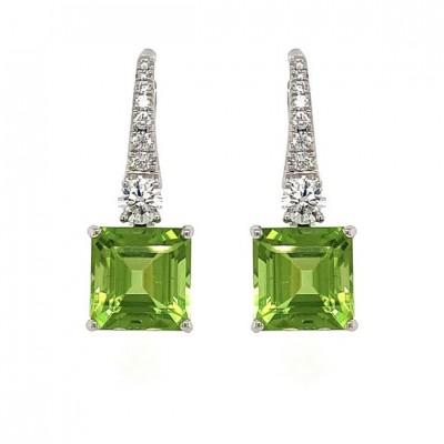 #PICO #Peridot #Diamonds #Earrings #Boucles d'oreille