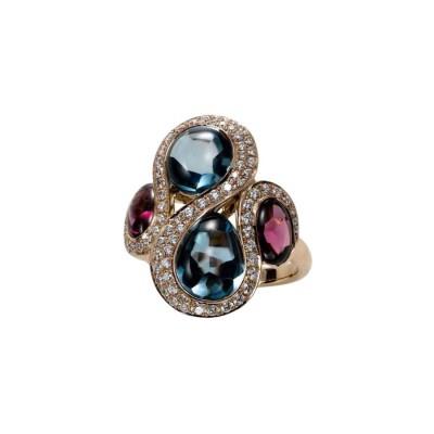 #PICO #The Ursula Ring #Blue Topaz #Rhodolite Garnet Diamonds #Topaze bleue #Blue London #Grenat Rhodolite #Diamants #Bague
