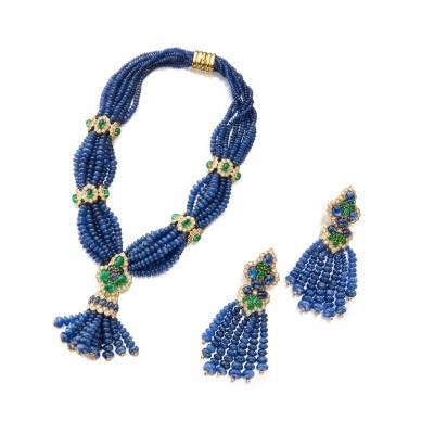 #GIOVANE #Sapphire #Emerald #Diamond #Necklace #Pair of Pendant-Earclips #Saphir #Emeraude #Diamant #Collier #Boucles d'oreilles