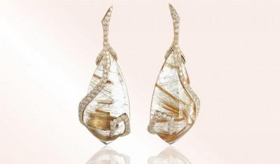 #NUUN #Earrings #gold #diamonds #Rutiled quartz #Quartz Rutile #Boucles d'oreilles #or jaune #Diamants #Nourah Al Faisal