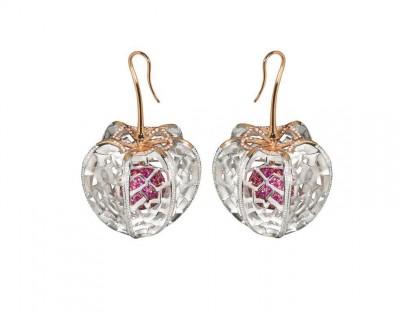 #NUUN #'PHYSALIS Earrings'#yellow gold #silver #diamonds #pink sapphires #or jaune #argent #saphirs roses #diamants #Boucles d'oreilles