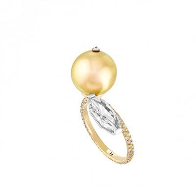 #NUUN #Ring #gold #D Diamond #Bague #or jaune#Diamant D #Pearl #perle